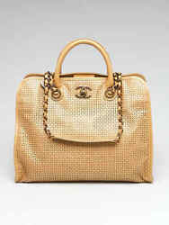 Chanel Gold Perforated Leather Up In The Air Large Shopping Tote Bag