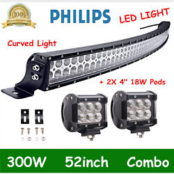 Curved 52inch 300w Led Light Bar Combo+4 18w Driving Cube Lamp Offroad Boat Suv
