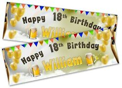 X2 Personalised Birthday Banner Beer Children Kids Party Decoration Poster