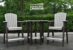 Enduro Outdoors Hdpe Bar Chair And Round Table Set Brown/driftwood
