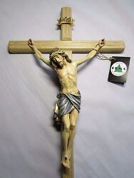 Large Wall Cross Crucifix Beautifully Hand Painted amp; Hand Carved All Wood
