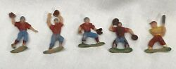 Old Vintage Plastic Baseball Player Figures Toys Sports Game Play Marx Style