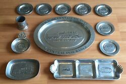 Old Vtg Ny Central Mutual Rr Train Pewter Tray Platter Cup Wilton Rwp Lot Of 12