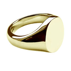 9ct Solid Yellow Gold Oval Signet Rings Heavy 14x12mm 375 Uk Hallmarked Bespoke