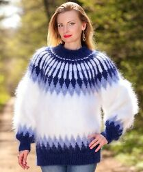 Blue Mohair Sweater Icelandic Thick Hand Knitted Fuzzy Nordic Jumper Supertanya