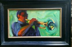 Bold Colorful Figural Painting Trumpet Player Colorado Artist Michelle Torrez
