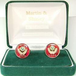 Russia Cufflinks Made From Cccp Russian Coins In Red And Gold And Colours 17mm