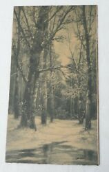 Antique 1904 B. Lambert Forest Scene Litho By Taber Prang Art Co, 16.8 By 9.0