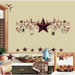 STARS amp; BERRIES WALL DECALS Country Kitchen Stickers Rustic Folk Primitive Decor
