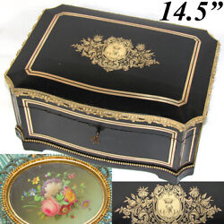 Lg Antique French 14.5 Jewelry Or Sewing Chest, Boulle, Crown Monogram, Tahan