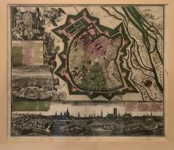 Suetter German Muchen, Munich Map 1707 Augsburg Great Condition And Color