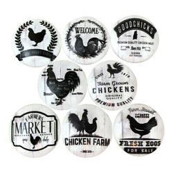 Set of 8 Black and White Chicken Wood Cabinet Knobs