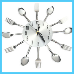 3D Wall Clock Stainless Steel Kitchen Wall Watch Quartz Needle Clock Decorate