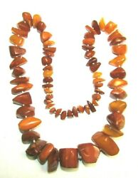 Natural Baltic Amber Necklace 136 grams Hand Knotted Chunks Multi-Color 28