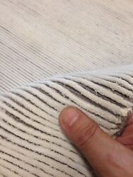 Spectacular Modern Hand Knotted Tibetan Area Rug Off White/ Gray Stripes 5x 8