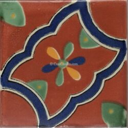 Mexican Talavera Ceramic Tiles Handpainted Tecate 10 Sq/ft 4¼ X 4¼ Or 6x6