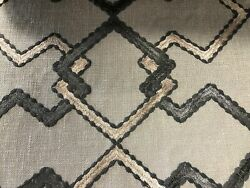 3 Colors Geometric Embroidered Drapery Fabric Beige Gray Blue Green / Rmil13
