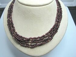 J281 Beautiful Vintage Garnet Bead 5 Strand Necklace With 14k Clasp And Beads