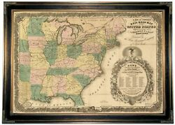 1858 Map Of The Eastern Half Of The Usa Wood Framed Canvas Print Repro 19x28