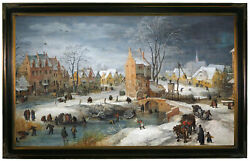 Momper A Village In Winter Wood Framed Canvas Print Repro 19x32