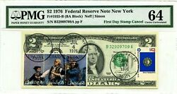 2 Dollars 1976 First Day Stamp Cancel New York Ny Lucky Money Value 1976