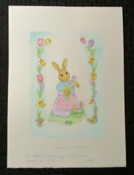 Easter Momma Bunny W/ Floral Border And Eggs 8x11 Greeting Card Art 2231