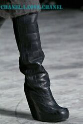 RICK OWENS $10,500 BLACK CROCODILE LEATHER OVER-THE-KNEE WEDGE BOOTS,38.5