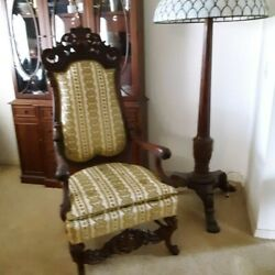 Antique High Back Heavy Carved Parlor Chair -1890's