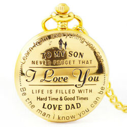 To My Son I Love You Retro Series Pocket Watch Quartz Watches Pendent Q7V2