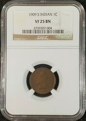 1909-s Indian Head Cent Ngc Vf25 3739307-004 Exquisite Coin Rare Key