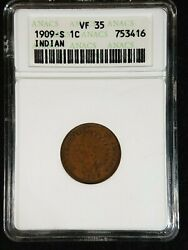 1909-s Indian Head Cent Anacs Vf35 753416 Exquisite Coin Rare Key