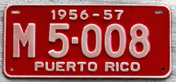1956-1957 White on Red Puerto Rico Motorcycle License Plate with Documents
