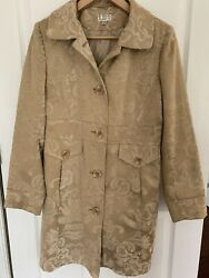 GIACCA Womens Tapestry Coat Jacket Size SMALL Beige Fitted Jacquard Pattern