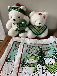 2005 Marshall Fields Mr. And Mrs. Santa Bear With Original Bags -