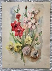 Beautiful Vintage Still Life Flowers Watercolor Art Print Hand Signed By Nardi