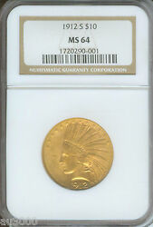 1912-S $10 INDIAN EAGLE NGC MS64 CERTIFIED MS-64 SCARCE DATE GOLD COIN !!!!!!!!!