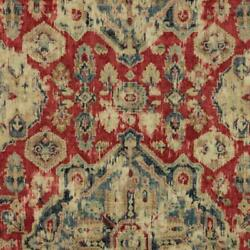 Red Navy Blue Beige Ikat Ethnic Drapery Fabric / Moroccan Red Rmil15