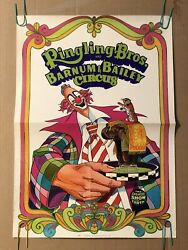 Ringling Brothers And Barnum Bailey Circus Clown Ad Original Vintage Poster 1972
