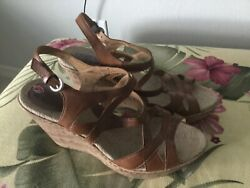BOC Born Concepts Size10 Saddle Brown Cork Wedge Slinback Sandals Comfort Model