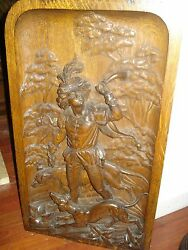 Pair Of Late19th Century Carved Oak Plaques From Coney Island N.y.