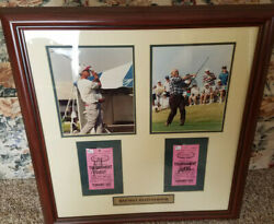 Autographed Tiger Woods Arnold Palmer Tickets Picture 25x25 Bayhill Invitational