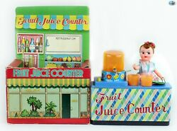 """Original Japanese Vintage 1940s """"fruit Juice Counter"""" Battery Operated Toy W/box"""