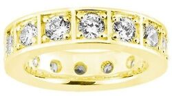 2.10 Ct Round Diamond Ring 14k Yellow Gold Eternity Band Size 6 0.15 Ct Each