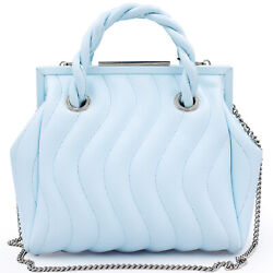 Blumarine Made in Italy designer blue quilted leather small MAISON bag $830