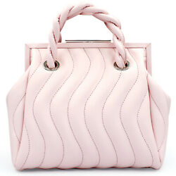 Blumarine Made in Italy designer pink quilted leather small MAISON bag $830