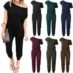 Womens Summer Casual Off Shoulder Short Sleeve Office Beam Foot Jumpsuit Rompers