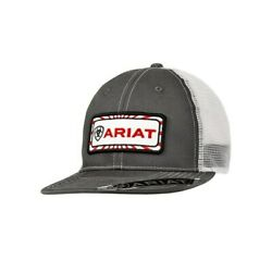 Ariat Mens Grey and White With Center Patch Mesh Back Snapback Cap