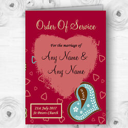 Modern Red Fun Love Hearts Personalised Wedding Double Cover Order Of Service