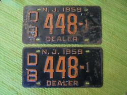 1959 New Jersey Dealer License Plate Pair Nj 59 Plates Tag Db 448-1