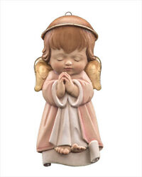 Lepi Woodcarvings Guardian Angel Hanging, Hand Carved And Painted In Italy, Pink
